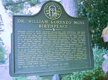 Dr. William Lorenzo Moss Birthplace