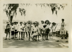 Unit I (youngest) ready to leave for camp after crabbing trip, 1948. From the Girl Scout Council of Savannah (Ga.) papers, MS 2000.
