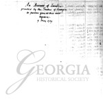 Earl of Egmont list of early settlers of Georgia, ca. 1743.