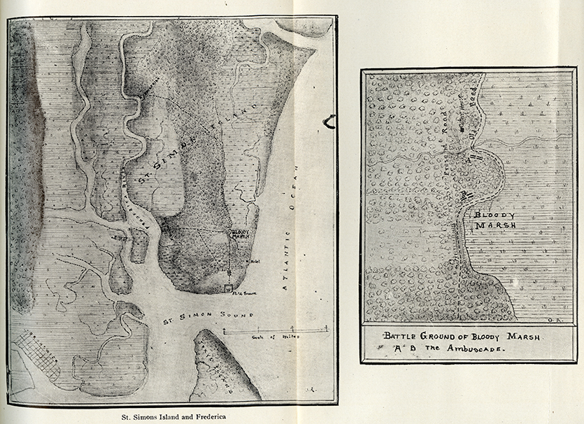 Map of St Simon and Frederica showing Bloody Marsh Battle, in, The Spanish official account of the attack on the colony of Georgia, in America, and of its defeat on St. Simons Island by General James Oglethorpe. Georgia Historical Society Main Collection F281 .G35 vol. 7, pt. 3.