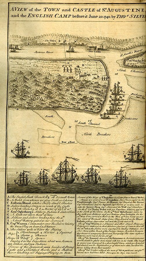 """A View of the Town and Castle of St Augustine and the English Camp before June 20, 1740 by Tho Silver """"Gentleman's Magazine"""" (London, England : 1736), 1 AP4 .G32. From the Georgia Historical Serials Collection."""