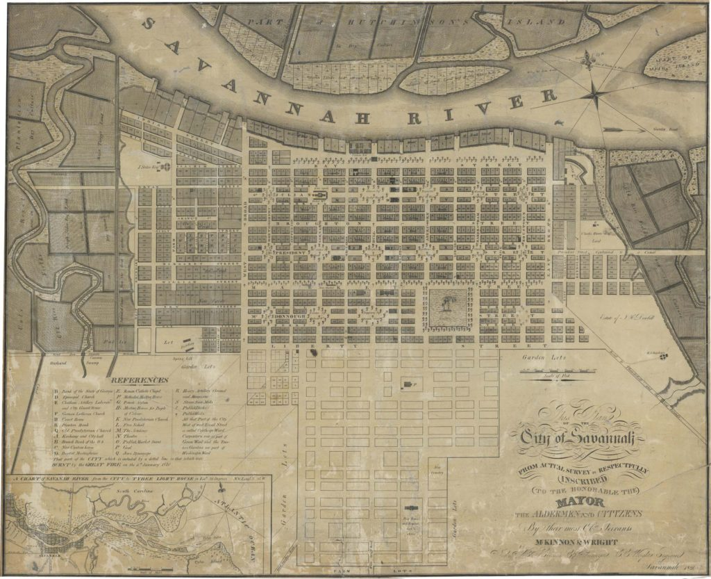 Plan Of The City Of Savannah 1820 Georgia Historical Society Map Collection Ms