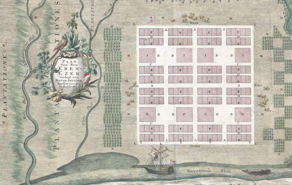 Plan of Ebenezer, Georgia, drawn by Samuel Urlsperger, 1747 Georgia Historical Society Map Collection, #112 GCCL, from the Delores Boisfeuillet Collection