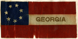 Ribbon of the Confederate flag used on the funeral wreath of Lawrence Cecil Berrien, 1902. From the Georgia Historical Society Objects Collection, A-0067-005.