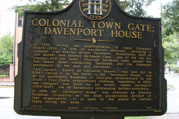Colonial Town Gate; Davenport House