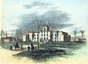 Capitol at Milledgeville, Georgia, in 1865. From the GHS Collection of Etchings, Silhouettes, and Prints, MS1361PR.