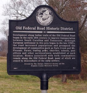 Old Federal Road Historic District Marker