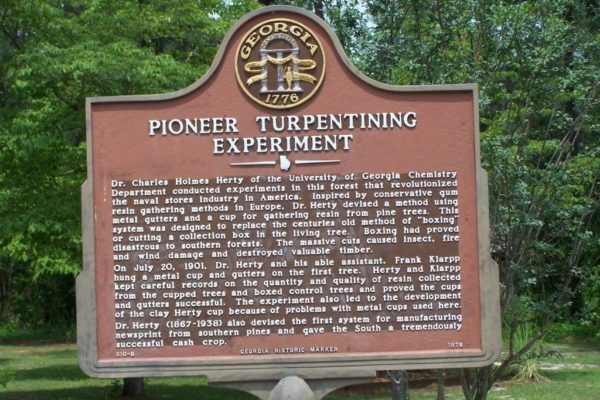 Pioneer Turpentining Experiment Marker