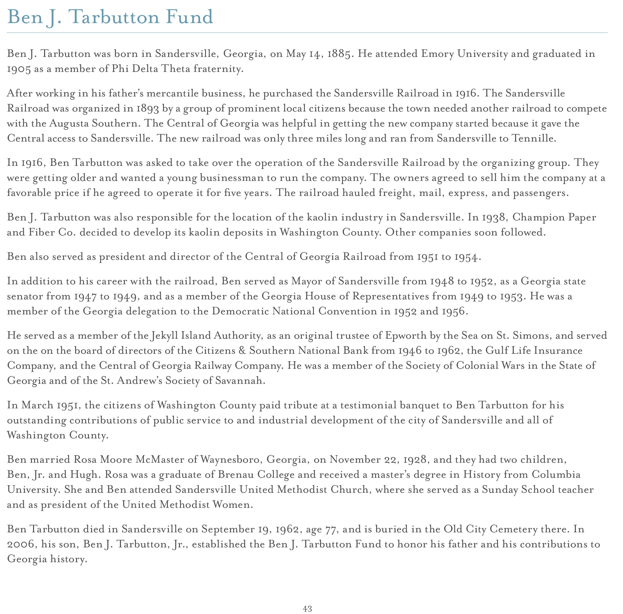 endowment campaign historical society ben j tarbutton fund