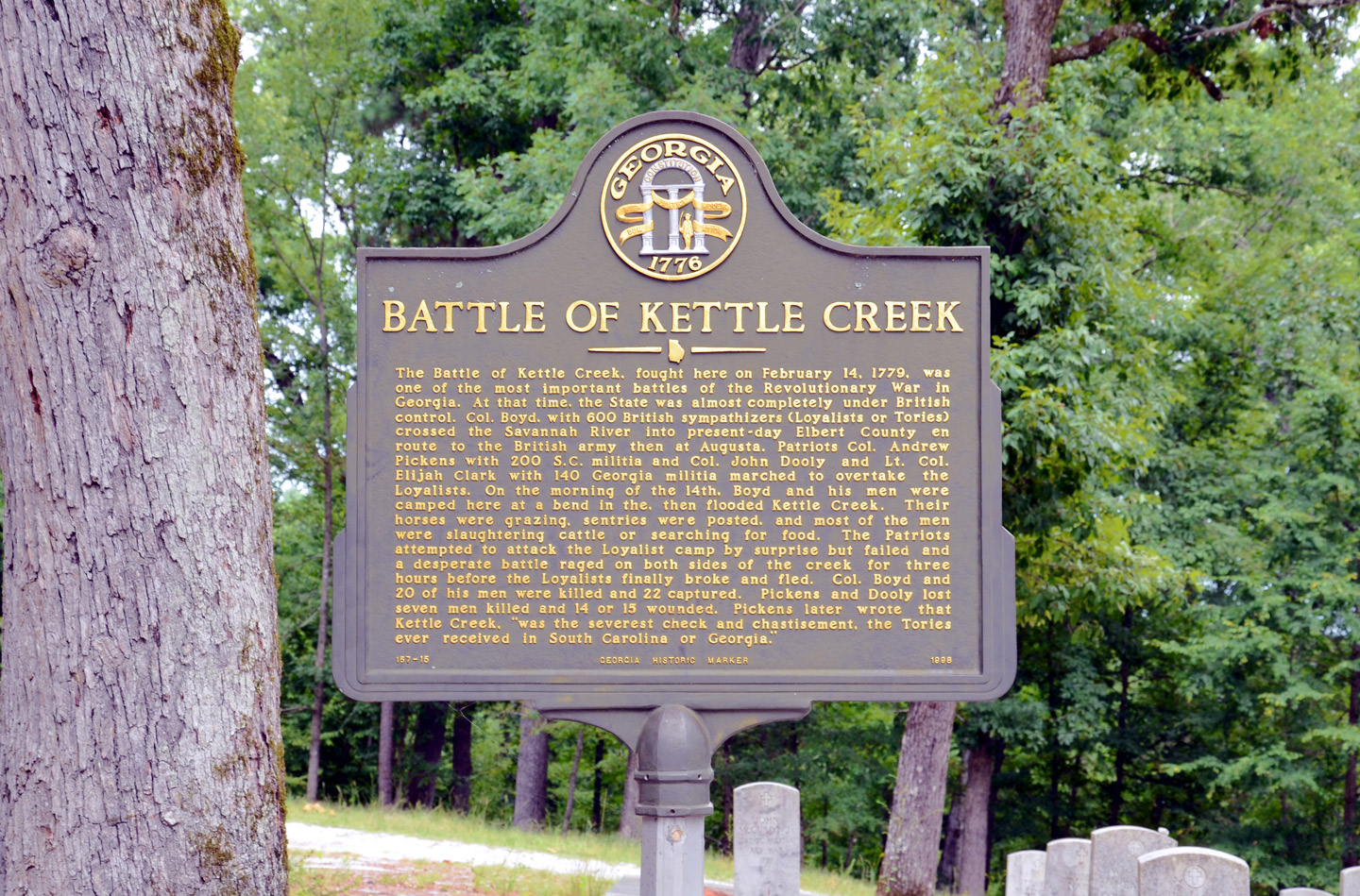 Marker Monday Battle Of Kettle Creek Georgia Historical