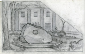 Drawing of the Tomochichi Monument. From the Augusta Oelschig drawings and Other Materials Collection, MS 1383.