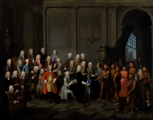 Audience Given by the Trustees of Georgia to a Delegation of Creek Indians. by William Verelst, gift of Henry Francis du Pont, 1956. Courtesy of the Winterthur Museum.
