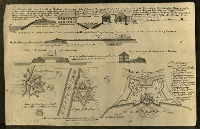Photograph of Fort Frederica plan, ca 1755. From the Foltz Photography Studio collection, MS 1360.