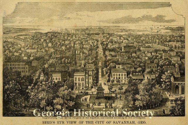 Bird's Eye View of the City of Savannah, Geo. (looking North), 1855.