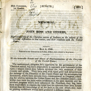 Memorial of John Ross and others : representatives of the Cherokee nation of Indians, on the subject of the existing difficulties in that nation, and their relations with the United States.