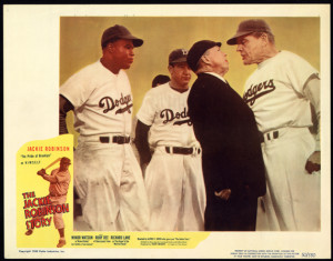 Lobby card promoting The Jackie Robinson Story, showing umpire arguing with Dodgers manager, while Jackie Robinson and another Dodger look on, c1950. Library of Congress Prints & Photographs Division, LC-USZC4-6142.