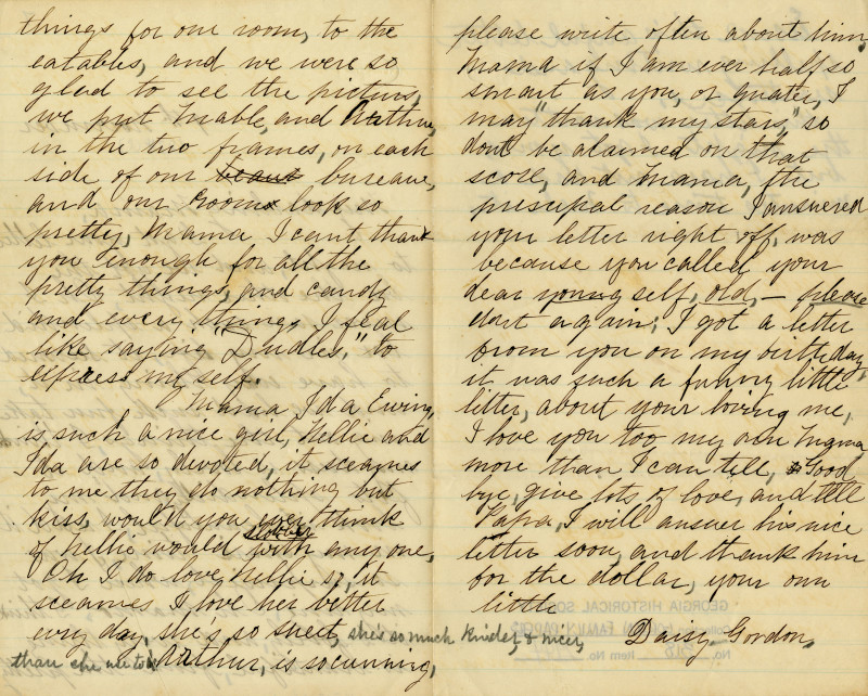 read letters written by juliette gordon low to her family on or around her birthday