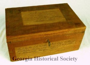Wooden box made by Rev. S. A. Worchester and Dr. Elezier Butler of the Cherokee Mission while in prison in Milledgeville