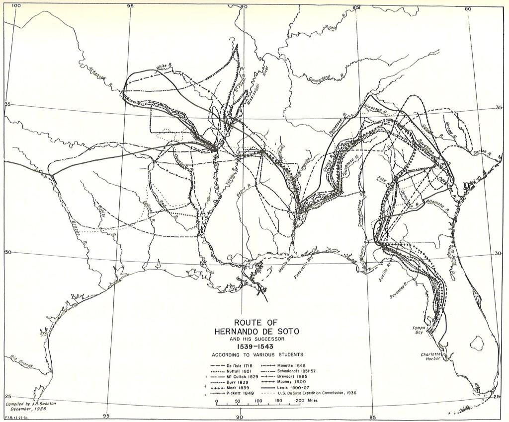 De Soto's path through La Florida according to multiple scholars. Courtesy of John R. Swanton.