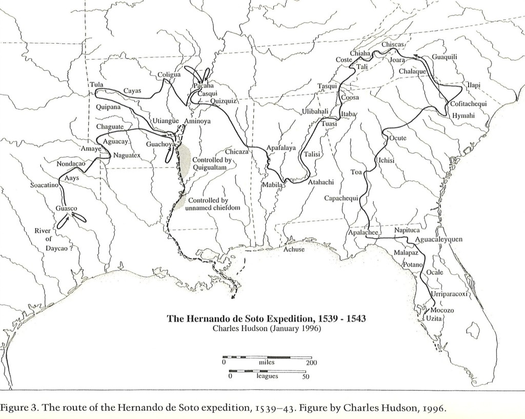 """Map of Hernando de Soto's journey through La Florida according to historian Charles Hudson. Image: From Galloway, Patricia, ed. The Hernando de Soto Expedition: History, Historiography, and """"Discovery"""" in the Southeast. Lincoln, NE: University of Nebraska Press, 1997."""