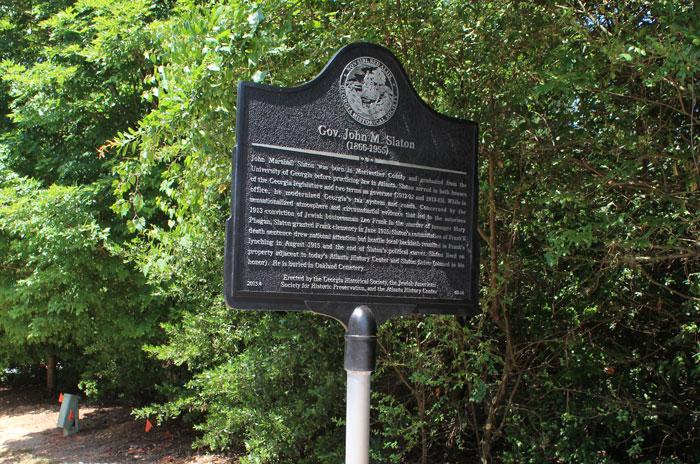 Gov. John M. Slaton historical marker