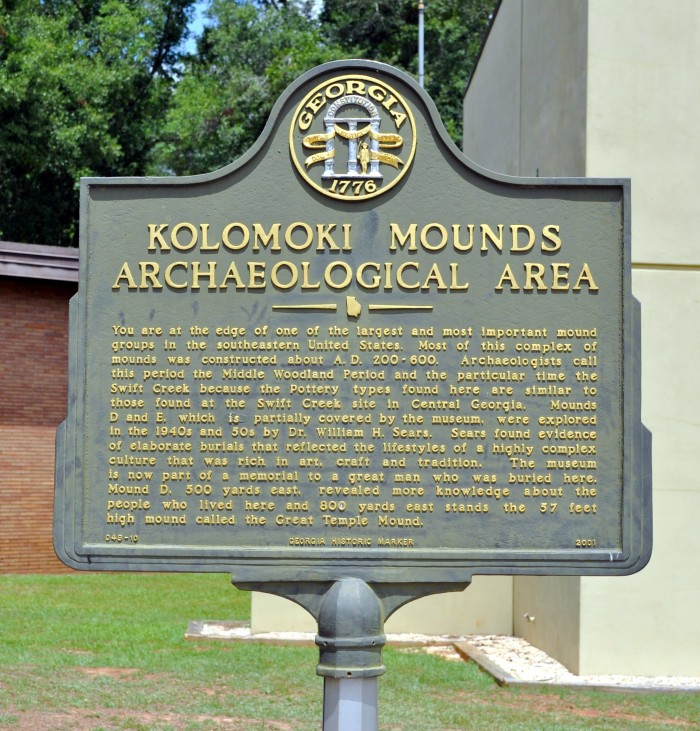 Kolomoki Mounds Archaeological Area Marker