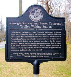 Georgia Railway and Power Company Trolley Waiting Station Marker