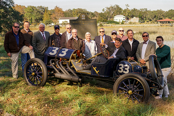Members of the Oglethorpe Driving Club with a 1911 EMF 30, owned by Dale Critz, Jr., that was driven in the 1911 Great Savannah Races by Jack Tower. Pictured, left to right: Richard Papy, Joel Carter, Michael Shortt, Ken Schuster, Ralph Tolman, Todd Groce, Joost Gompels, Carlton Joyce, Jay Javetz, Dale Critz, Jr., Jim Piette, Quintin Cowart, Jack Eades, and John Critz. Photo courtesy of Robertson & Markowitz Advertising and PR, Inc.