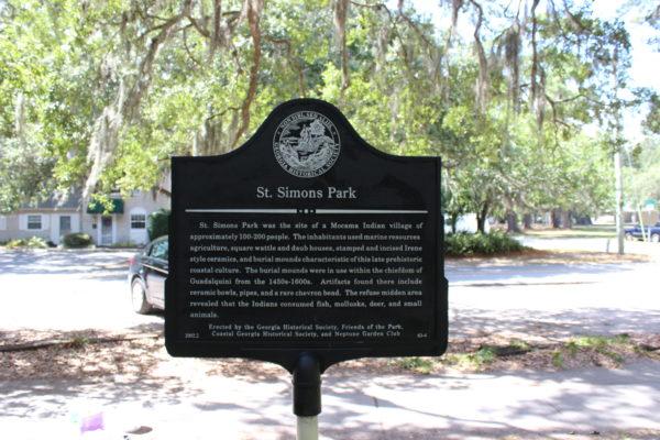 St. Simons Park Marker