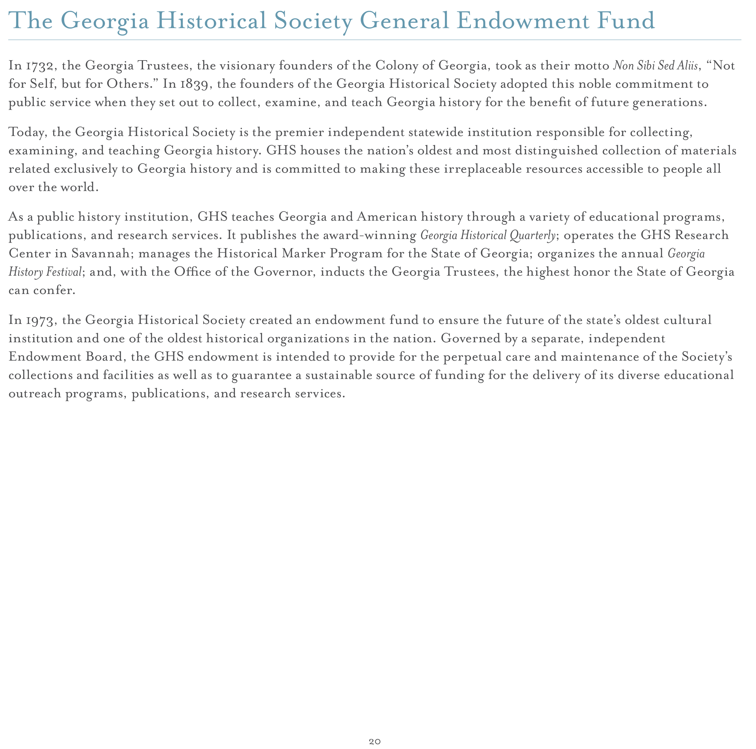 Endowment Campaign Georgia Historical Society