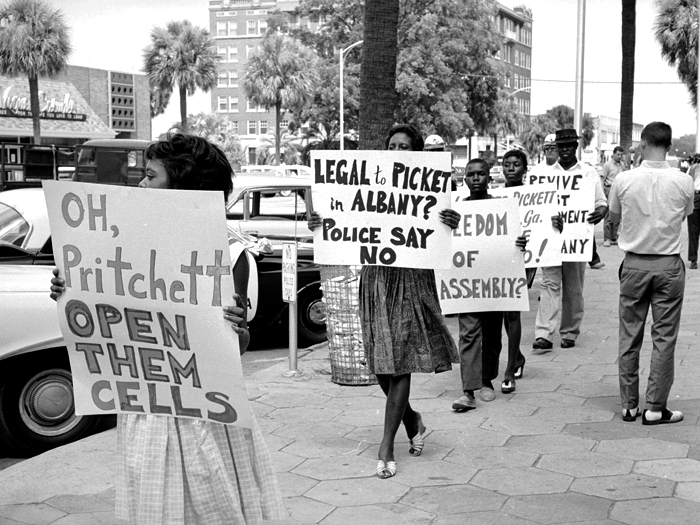Picketers object to arbitrary arrest of civil rights leaders during peaceful antisegregation demonstration.  (Photo by Donald Uhrbrock//Time Life Pictures/Getty Images)