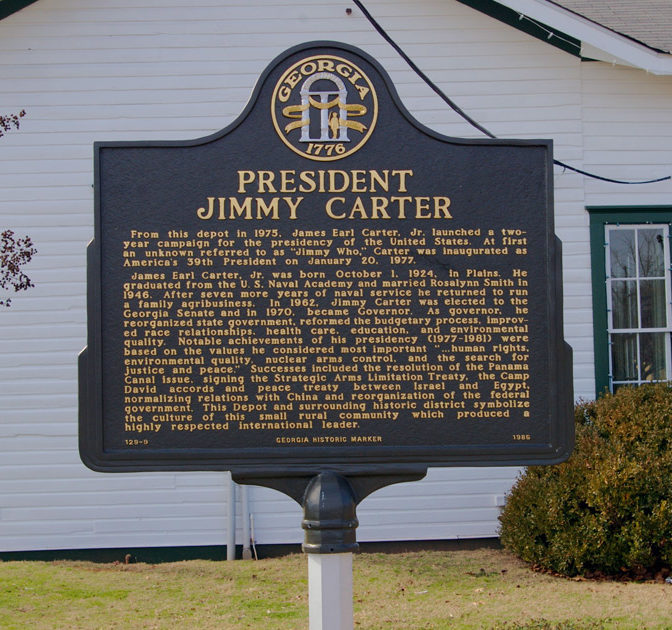 Marker Monday President Jimmy Carter Georgia Historical Society